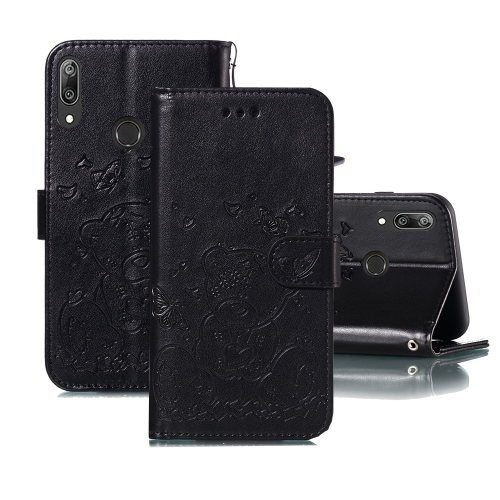 For Huawei Y7 (2019) / Y7 Pro (2019) Embossed Butterfly Love Bear Pattern PU + TPU Horizontal Flip Leather Case with Holder & Card Slots & Wallet & Photo Frame(Black)