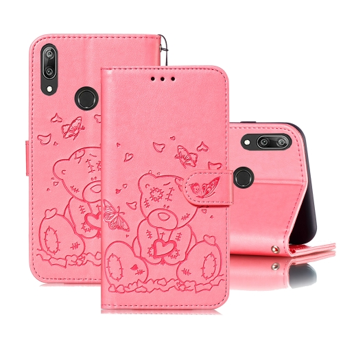For Huawei Y7 (2019) / Y7 Pro (2019) Embossed Butterfly Love Bear Pattern PU + TPU Horizontal Flip Leather Case with Holder & Card Slots & Wallet & Photo Frame(Pink)