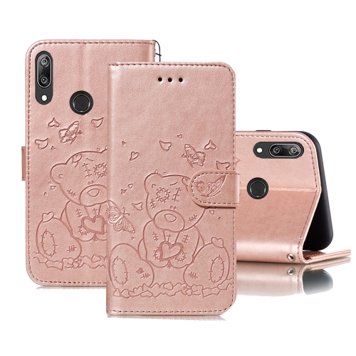 For Huawei Y7 (2019) / Y7 Pro (2019) Embossed Butterfly Love Bear Pattern PU + TPU Horizontal Flip Leather Case with Holder & Card Slots & Wallet & Photo Frame(Rose Gold)
