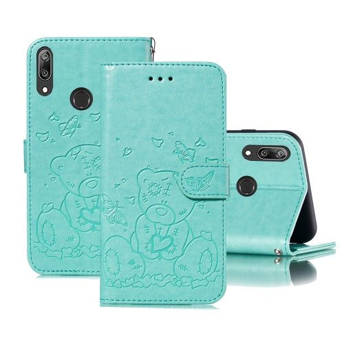 For Huawei Y7 (2019) / Y7 Pro (2019) Embossed Butterfly Love Bear Pattern PU + TPU Horizontal Flip Leather Case with Holder & Card Slots & Wallet & Photo Frame(Green)
