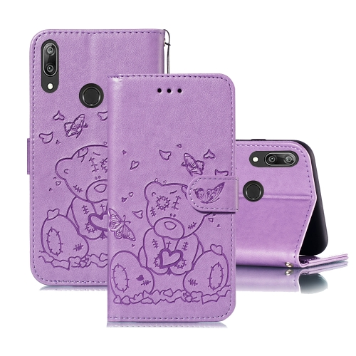 For Huawei Y7 (2019) / Y7 Pro (2019) Embossed Butterfly Love Bear Pattern PU + TPU Horizontal Flip Leather Case with Holder & Card Slots & Wallet & Photo Frame(Purple)