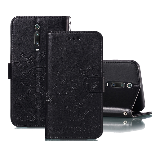 For Xiaomi Redmi K20 / Mi 9T Embossed Butterfly Love Bear Pattern PU + TPU Horizontal Flip Leather Case with Holder & Card Slots & Wallet & Photo Frame(Black)