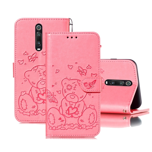 For Xiaomi Redmi K20 / Mi 9T Embossed Butterfly Love Bear Pattern PU + TPU Horizontal Flip Leather Case with Holder & Card Slots & Wallet & Photo Frame(Pink)