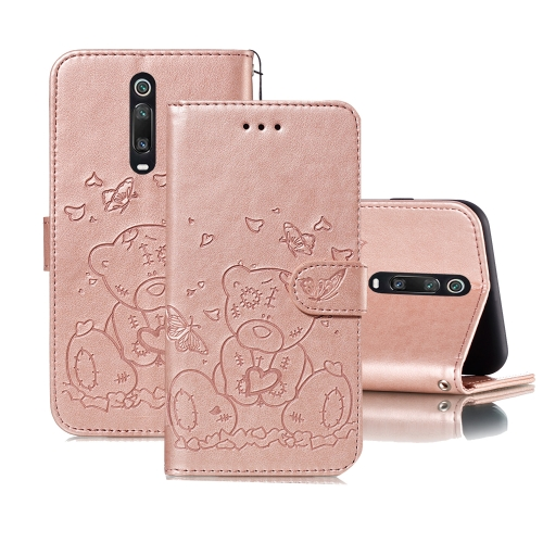 For Xiaomi Redmi K20 / Mi 9T Embossed Butterfly Love Bear Pattern PU + TPU Horizontal Flip Leather Case with Holder & Card Slots & Wallet & Photo Frame(Rose Gold)