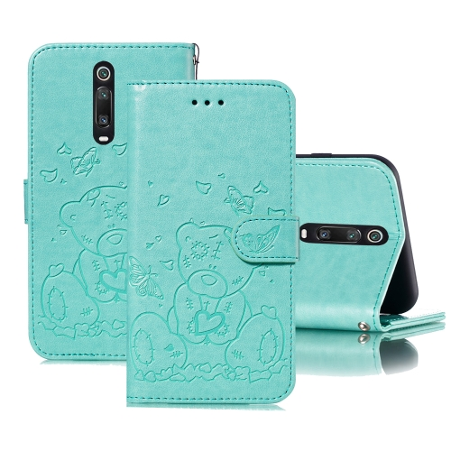For Xiaomi Redmi K20 / Mi 9T Embossed Butterfly Love Bear Pattern PU + TPU Horizontal Flip Leather Case with Holder & Card Slots & Wallet & Photo Frame(Green)