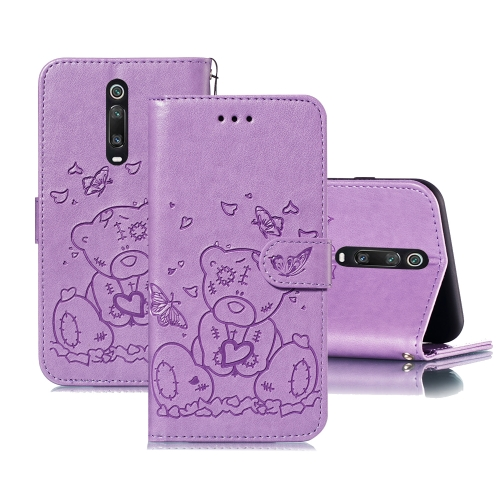 For Xiaomi Redmi K20 / Mi 9T Embossed Butterfly Love Bear Pattern PU + TPU Horizontal Flip Leather Case with Holder & Card Slots & Wallet & Photo Frame(Purple)