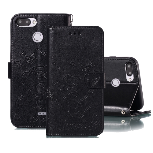 For Xiaomi Redmi 6 Embossed Butterfly Love Bear Pattern PU + TPU Horizontal Flip Leather Case with Holder & Card Slots & Wallet & Photo Frame(Black)