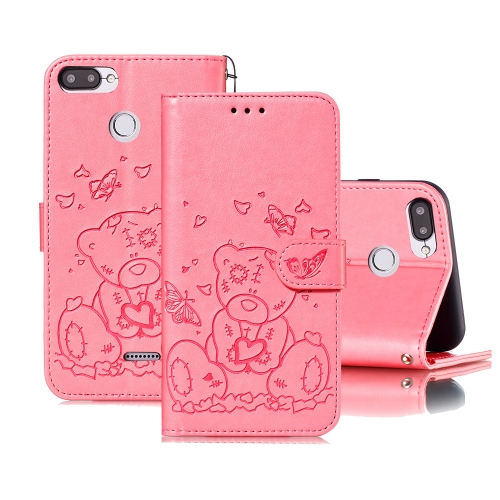 For Xiaomi Redmi 6 Embossed Butterfly Love Bear Pattern PU + TPU Horizontal Flip Leather Case with Holder & Card Slots & Wallet & Photo Frame(Pink)