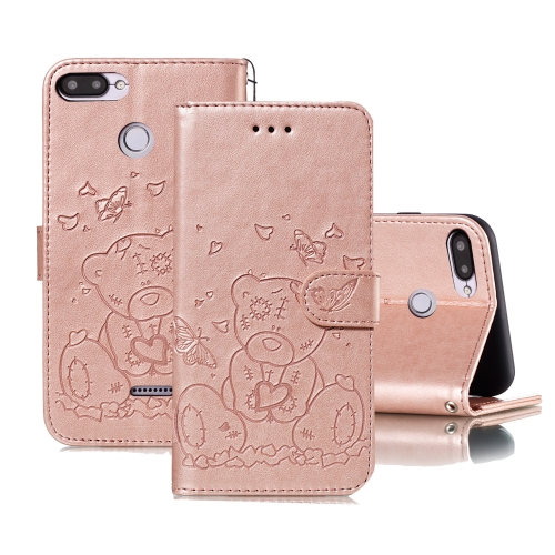 For Xiaomi Redmi 6 Embossed Butterfly Love Bear Pattern PU + TPU Horizontal Flip Leather Case with Holder & Card Slots & Wallet & Photo Frame(Rose Gold)
