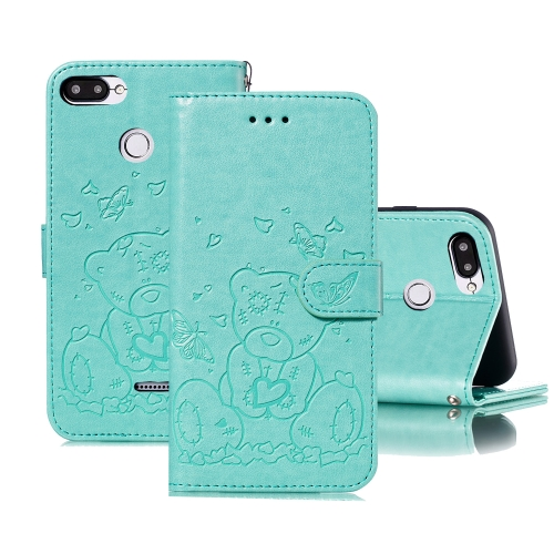 For Xiaomi Redmi 6 Embossed Butterfly Love Bear Pattern PU + TPU Horizontal Flip Leather Case with Holder & Card Slots & Wallet & Photo Frame(Green)
