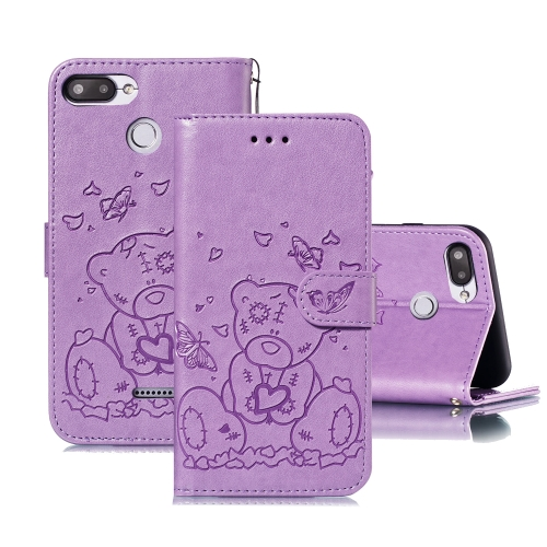 For Xiaomi Redmi 6 Embossed Butterfly Love Bear Pattern PU + TPU Horizontal Flip Leather Case with Holder & Card Slots & Wallet & Photo Frame(Purple)