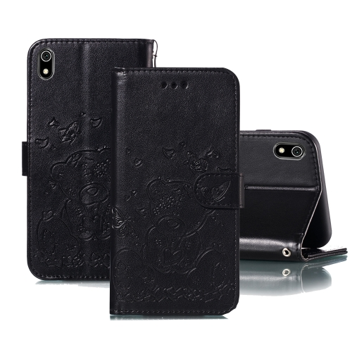 For Xiaomi Redmi 7A Embossed Butterfly Love Bear Pattern PU + TPU Horizontal Flip Leather Case with Holder & Card Slots & Wallet & Photo Frame(Black)