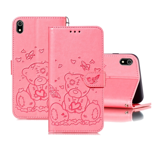 For Xiaomi Redmi 7A Embossed Butterfly Love Bear Pattern PU + TPU Horizontal Flip Leather Case with Holder & Card Slots & Wallet & Photo Frame(Pink)