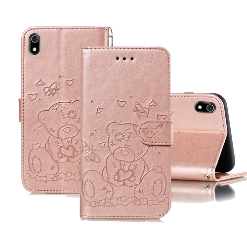For Xiaomi Redmi 7A Embossed Butterfly Love Bear Pattern PU + TPU Horizontal Flip Leather Case with Holder & Card Slots & Wallet & Photo Frame(Rose Gold)