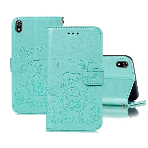 For Xiaomi Redmi 7A Embossed Butterfly Love Bear Pattern PU + TPU Horizontal Flip Leather Case with Holder & Card Slots & Wallet & Photo Frame(Green)