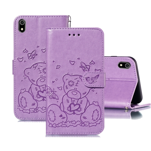 For Xiaomi Redmi 7A Embossed Butterfly Love Bear Pattern PU + TPU Horizontal Flip Leather Case with Holder & Card Slots & Wallet & Photo Frame(Purple)