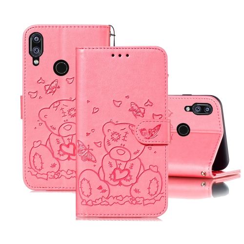 For Xiaomi Redmi Note 7 Embossed Butterfly Love Bear Pattern PU + TPU Horizontal Flip Leather Case with Holder & Card Slots & Wallet & Photo Frame(Pink)