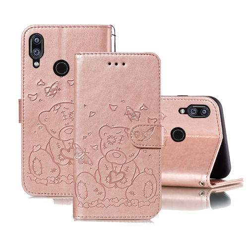 For Xiaomi Redmi Note 7 Embossed Butterfly Love Bear Pattern PU + TPU Horizontal Flip Leather Case with Holder & Card Slots & Wallet & Photo Frame(Rose Gold)