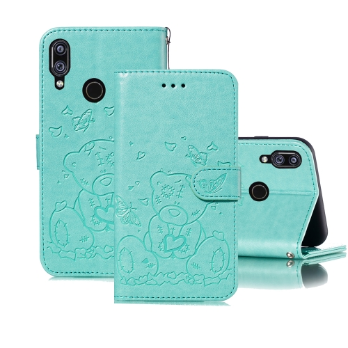 For Xiaomi Redmi Note 7 Embossed Butterfly Love Bear Pattern PU + TPU Horizontal Flip Leather Case with Holder & Card Slots & Wallet & Photo Frame(Green)