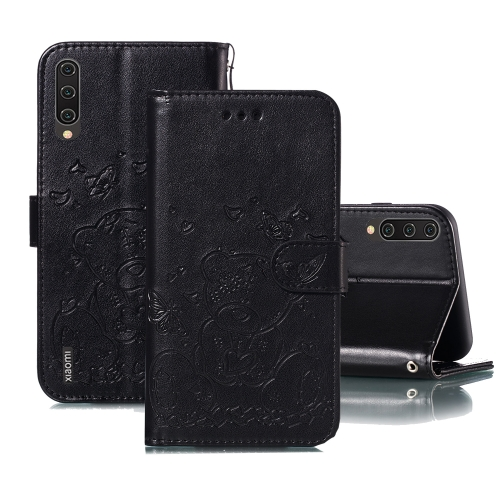 For Xiaomi Mi CC9 Embossed Butterfly Love Bear Pattern PU + TPU Horizontal Flip Leather Case with Holder & Card Slots & Wallet & Photo Frame(Black)