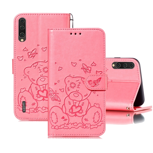 For Xiaomi Mi CC9 Embossed Butterfly Love Bear Pattern PU + TPU Horizontal Flip Leather Case with Holder & Card Slots & Wallet & Photo Frame(Pink)
