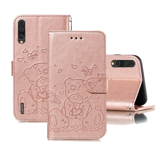 For Xiaomi Mi CC9 Embossed Butterfly Love Bear Pattern PU + TPU Horizontal Flip Leather Case with Holder & Card Slots & Wallet & Photo Frame(Rose Gold)