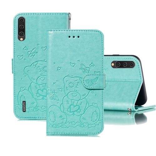 For Xiaomi Mi CC9 Embossed Butterfly Love Bear Pattern PU + TPU Horizontal Flip Leather Case with Holder & Card Slots & Wallet & Photo Frame(Green)
