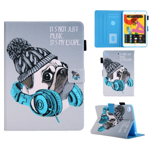 For iPad Mini (2019) Colored Drawing Pattern Horizontal Flip Leather Case with Holder & Card Slots & Anti-skid Strip & Wake-up / Sleep Sunction(Music Dog)