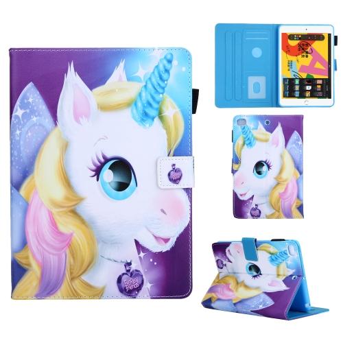 For iPad Mini (2019) Colored Drawing Pattern Horizontal Flip Leather Case with Holder & Card Slots & Anti-skid Strip & Wake-up / Sleep Sunction(Unicorn)