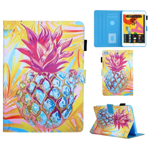 For iPad Mini (2019) Colored Drawing Pattern Horizontal Flip Leather Case with Holder & Card Slots & Anti-skid Strip & Wake-up / Sleep Sunction(Pineapple)