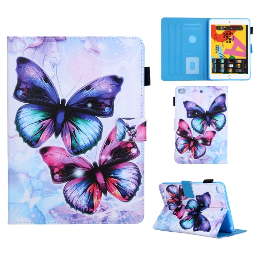 For iPad Mini (2019) Colored Drawing Pattern Horizontal Flip Leather Case with Holder & Card Slots & Anti-skid Strip & Wake-up / Sleep Sunction(Butterfly)