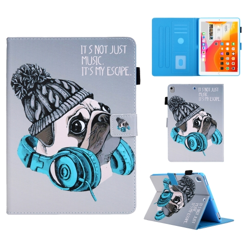 For iPad 10.2 Colored Drawing Pattern Horizontal Flip Leather Case with Holder & Card Slots & Anti-skid Strip & Wake-up / Sleep Sunction(Music Dog)