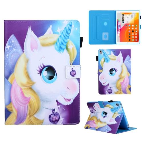 For iPad 10.2 Colored Drawing Pattern Horizontal Flip Leather Case with Holder & Card Slots & Anti-skid Strip & Wake-up / Sleep Sunction(Unicorn)