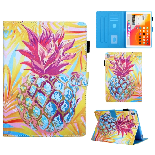 For iPad 10.2 Colored Drawing Pattern Horizontal Flip Leather Case with Holder & Card Slots & Anti-skid Strip & Wake-up / Sleep Sunction(Pineapple)