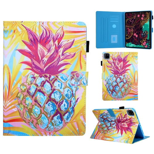 For iPad Pro 11 (2020) Colored Drawing Pattern Horizontal Flip Leather Case with Holder & Card Slots & Anti-skid Strip & Wake-up / Sleep Sunction(Pineapple)