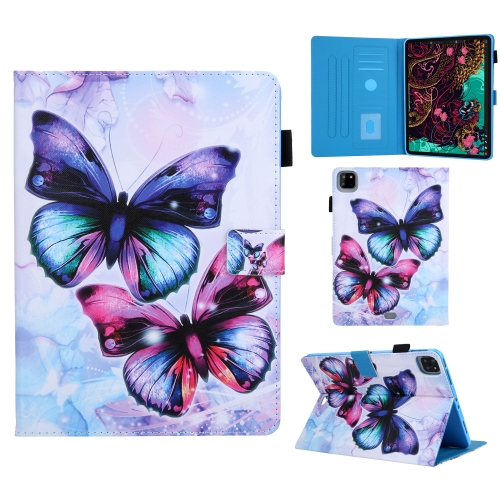 For iPad Pro 11 (2020) Colored Drawing Pattern Horizontal Flip Leather Case with Holder & Card Slots & Anti-skid Strip & Wake-up / Sleep Sunction(Butterfly)