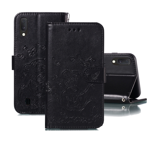 For Samsung Galaxy A10 / M10 Embossed Butterfly Love Bear Pattern PU + TPU Horizontal Flip Leather Case with Holder & Card Slots & Wallet & Photo Frame(Black)