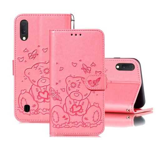 For Samsung Galaxy A10 / M10 Embossed Butterfly Love Bear Pattern PU + TPU Horizontal Flip Leather Case with Holder & Card Slots & Wallet & Photo Frame(Pink)