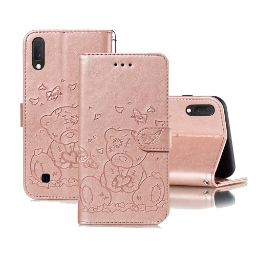 For Samsung Galaxy A10 / M10 Embossed Butterfly Love Bear Pattern PU + TPU Horizontal Flip Leather Case with Holder & Card Slots & Wallet & Photo Frame(Rose Gold)