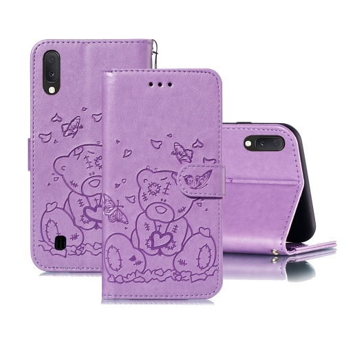 For Samsung Galaxy A10 / M10 Embossed Butterfly Love Bear Pattern PU + TPU Horizontal Flip Leather Case with Holder & Card Slots & Wallet & Photo Frame(Purple)