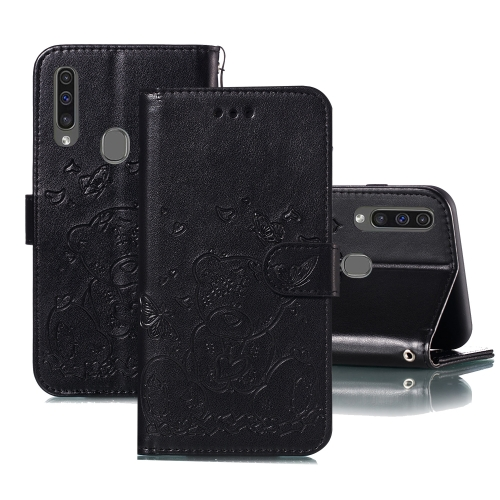 For Samsung Galaxy A20s Embossed Butterfly Love Bear Pattern PU + TPU Horizontal Flip Leather Case with Holder & Card Slots & Wallet & Photo Frame(Black)