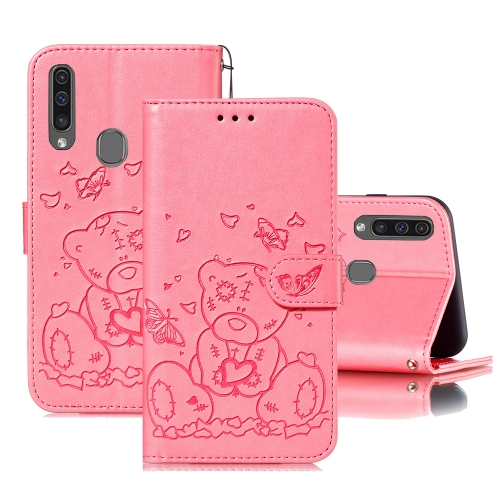 For Samsung Galaxy A20s Embossed Butterfly Love Bear Pattern PU + TPU Horizontal Flip Leather Case with Holder & Card Slots & Wallet & Photo Frame(Pink)