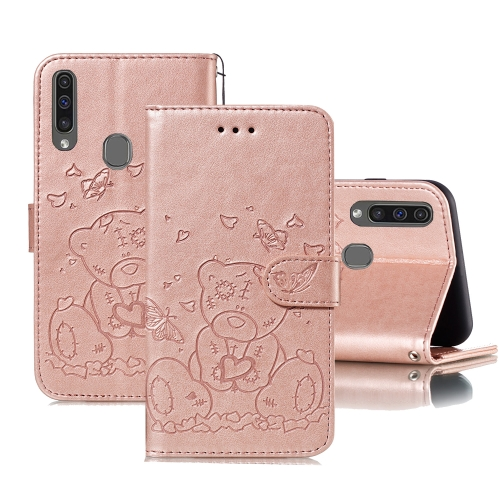 For Samsung Galaxy A20s Embossed Butterfly Love Bear Pattern PU + TPU Horizontal Flip Leather Case with Holder & Card Slots & Wallet & Photo Frame(Rose Gold)