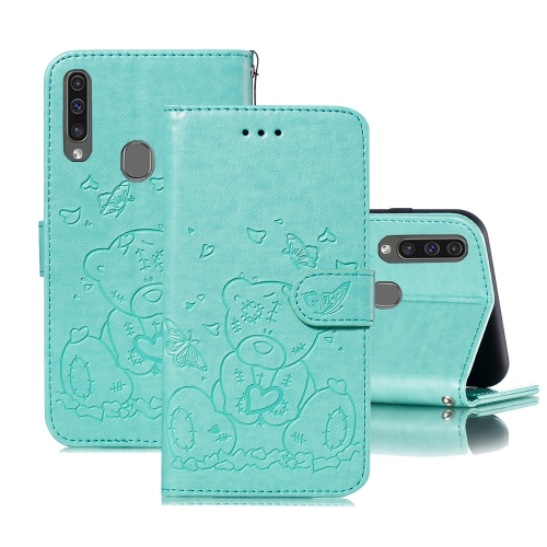 For Samsung Galaxy A20s Embossed Butterfly Love Bear Pattern PU + TPU Horizontal Flip Leather Case with Holder & Card Slots & Wallet & Photo Frame(Green)