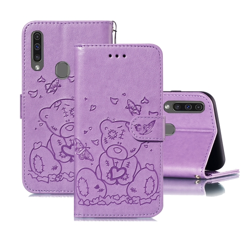 For Samsung Galaxy A20s Embossed Butterfly Love Bear Pattern PU + TPU Horizontal Flip Leather Case with Holder & Card Slots & Wallet & Photo Frame(Purple)