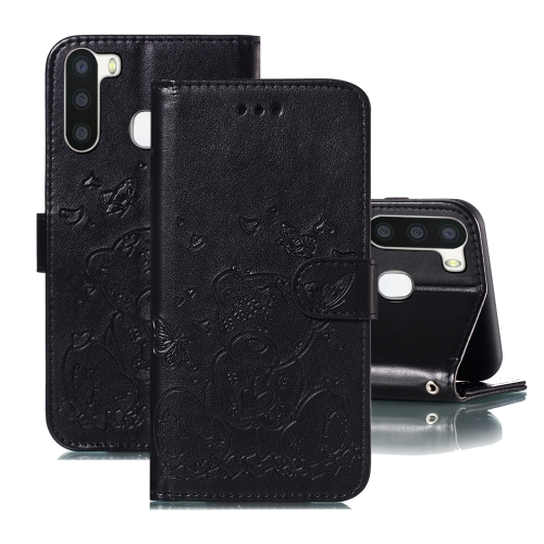 For Samsung Galaxy A21 Embossed Butterfly Love Bear Pattern PU + TPU Horizontal Flip Leather Case with Holder & Card Slots & Wallet & Photo Frame(Black)