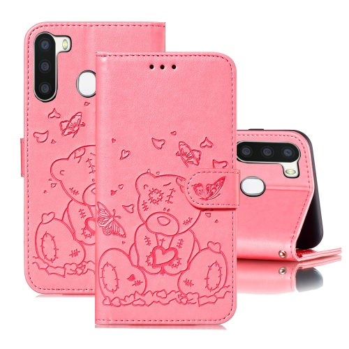 For Samsung Galaxy A21 Embossed Butterfly Love Bear Pattern PU + TPU Horizontal Flip Leather Case with Holder & Card Slots & Wallet & Photo Frame(Pink)