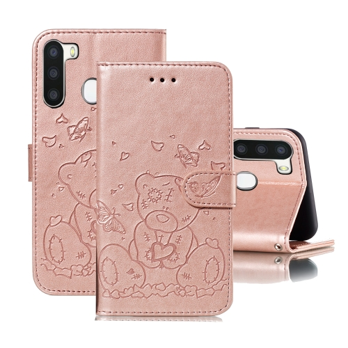 For Samsung Galaxy A21 Embossed Butterfly Love Bear Pattern PU + TPU Horizontal Flip Leather Case with Holder & Card Slots & Wallet & Photo Frame(Rose Gold)