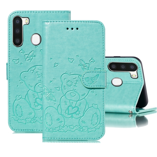 For Samsung Galaxy A21 Embossed Butterfly Love Bear Pattern PU + TPU Horizontal Flip Leather Case with Holder & Card Slots & Wallet & Photo Frame(Green)
