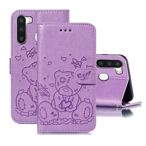 For Samsung Galaxy A21 Embossed Butterfly Love Bear Pattern PU + TPU Horizontal Flip Leather Case with Holder & Card Slots & Wallet & Photo Frame(Purple)